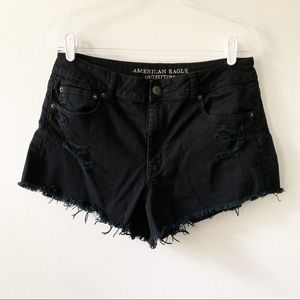 American Eagle Black Distressed Cutoff Shorts 14